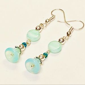 Mint Green & Light Aqua Bell Flower Earrings